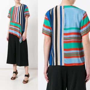 Diane Von Furstenberg Stripe Silk Asymmetric Top